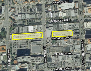 The city of Coral Gables has proposed redeveloping these parking garages with 1,000 spaces and up to 315,00 square feet of private development.